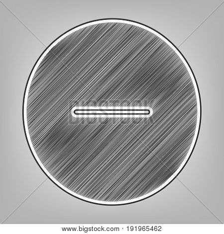 Negative symbol illustration. Minus sign. Vector. Pencil sketch imitation. Dark gray scribble icon with dark gray outer contour at gray background.