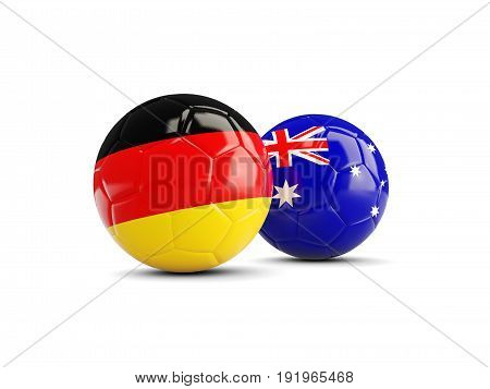 Two Footballs With Flags Of Germany And Australia Isolated On White