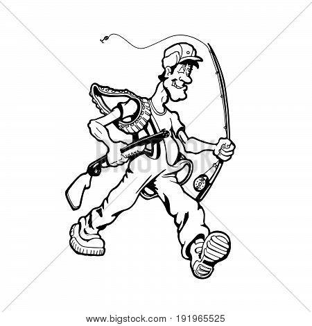 Man hunting fish and birds. cartoon character . Vector Illustration.