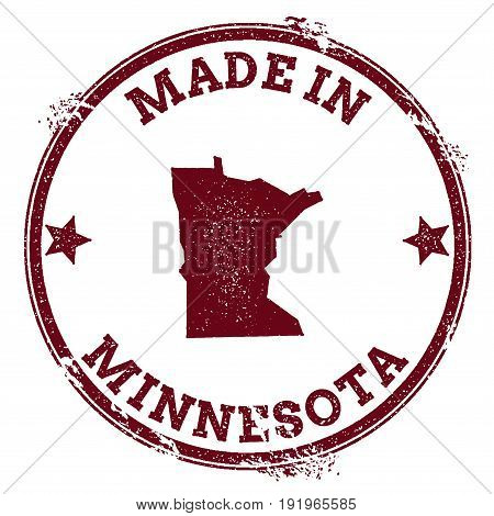 Minnesota Vector Seal. Vintage Usa State Map Stamp. Grunge Rubber Stamp With Made In Minnesota Text