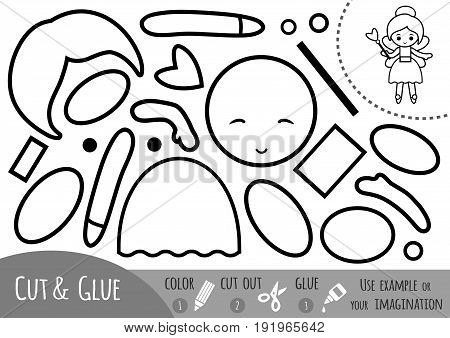 Education paper game for children Fairy. Use scissors and glue to create the image.