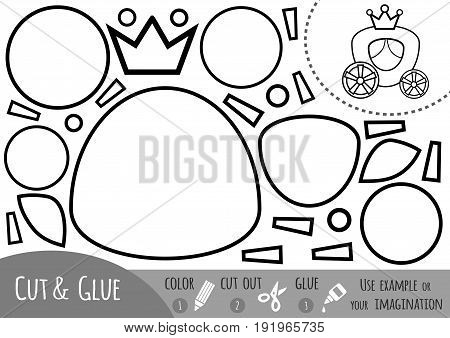 Education paper game for children Carriage. Use scissors and glue to create the image.