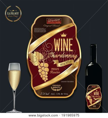 Luxury Golden Wine Label Vector Illustration 9.eps