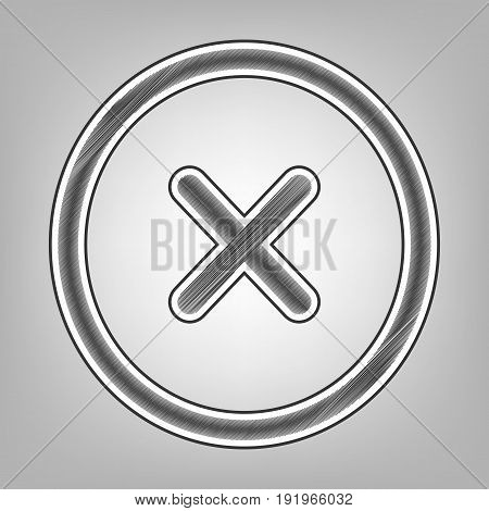 Cross sign illustration. Vector. Pencil sketch imitation. Dark gray scribble icon with dark gray outer contour at gray background.