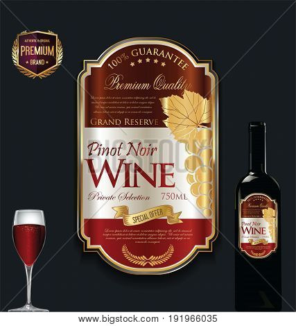 Luxury Golden Wine Label Vector Illustration 5.eps