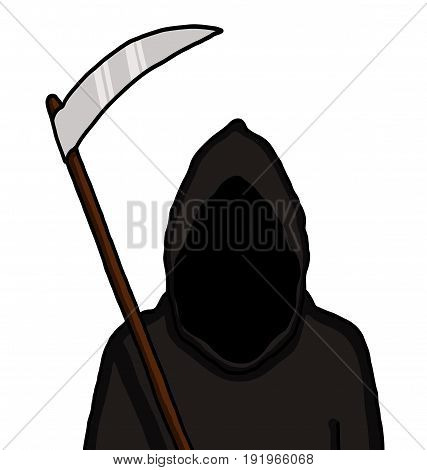 Grim reaper with dark face holding blade