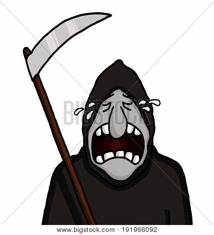Grim reaper holding a blade and crying