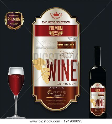 Luxury Golden Wine Label Vector Illustration 2.eps