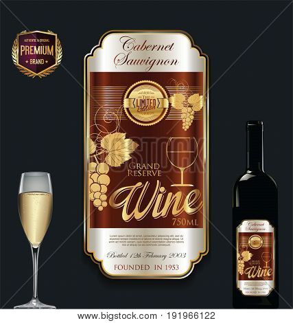Luxury Golden Wine Label Vector Illustration 1.eps