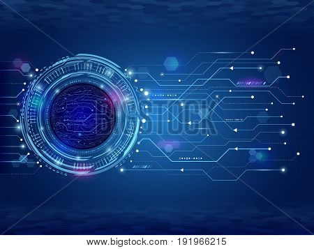 Abstract circuit technology concept. Futuristic circle elements background. Hi-tech computer technology on the blue background. Vector illustration
