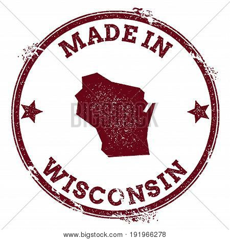 Wisconsin Vector Seal. Vintage Usa State Map Stamp. Grunge Rubber Stamp With Made In Wisconsin Text