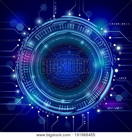 Abstract futuristic circuit board. Hi-tech digital communication concept on the blue background. Modern techno style. Vector illustration eps 10