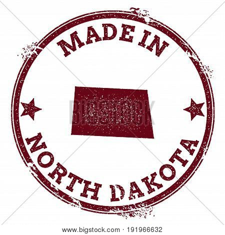North Dakota Vector Seal. Vintage Usa State Map Stamp. Grunge Rubber Stamp With Made In North Dakota