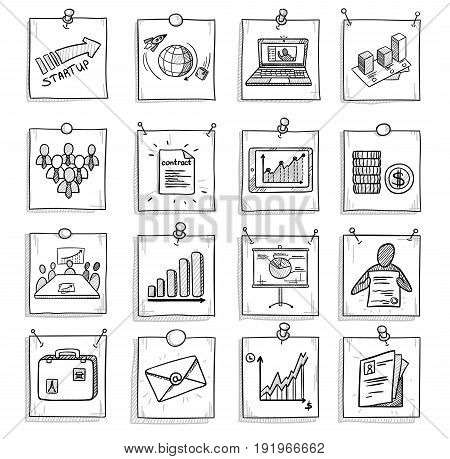Hand drawn business concept with laptop chart graphs teamwork money documents briefcase marketing elements on note papers isolated vector illustration