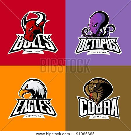 Furious octopus, eagle, cobra, bull head isolated vector sport logo concept set. Modern badge mascot design. Premium quality wild animal t-shirt tee print character illustration. Street racing team emblem.