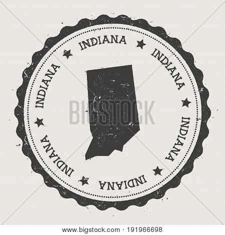 Indiana Vector Sticker. Hipster Round Rubber Stamp With Us State Map. Vintage Passport Stamp With Ci