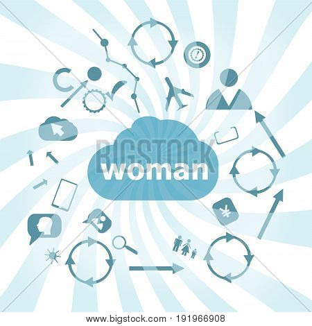 Text Woman. Social Concept . Set Of Web Icons For Business, Finance And Communication