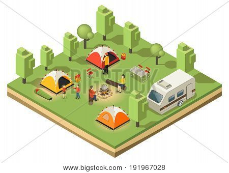 Isometric traveling camping concept with relaxing family tents food cooking trailer backpacks in forest isolated vector illustration
