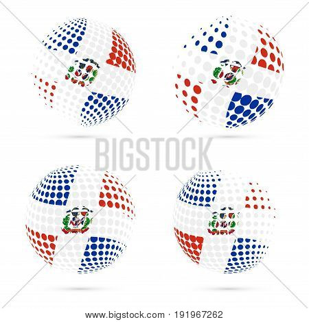 Dominicana Halftone Flag Set Patriotic Vector Design. 3D Halftone Sphere In Dominicana National Flag
