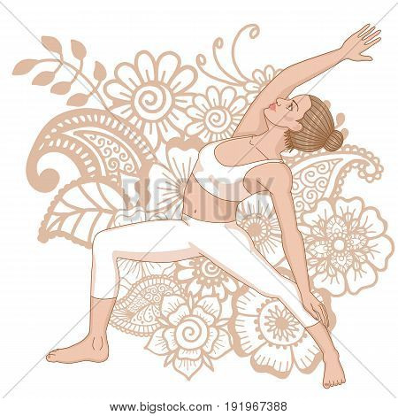 Women silhouette. Reserved warrior yoga pose. Viparita Virabhadrasana Vector illustration