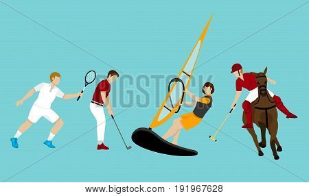 Colorful people activities set with tennis golf sailing and polo sport on turquoise background isolated vector illustration