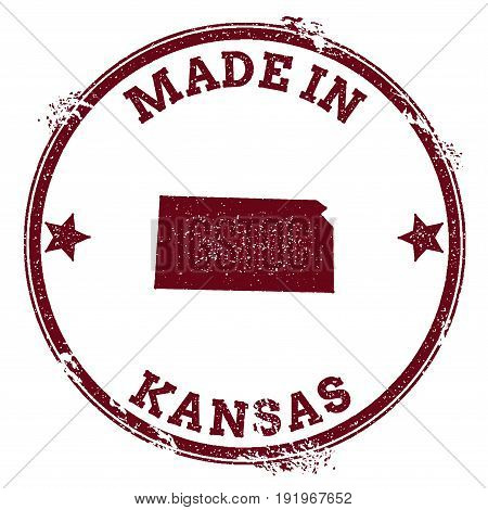 Kansas Vector Seal. Vintage Usa State Map Stamp. Grunge Rubber Stamp With Made In Kansas Text And Us