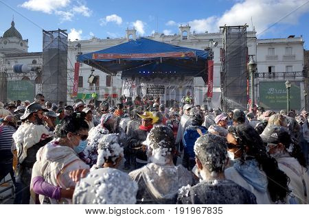 6TH JANUARY 2015 PASTO COLOMBIA - crowds celebrate at the Carnival de Blancos y Negros (Blacks and White Carnival) in Pasto in Colombia