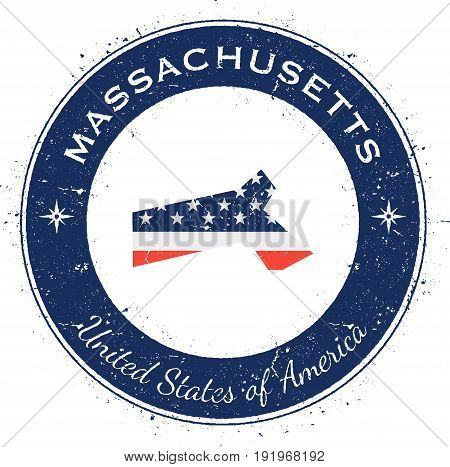 Massachusetts Circular Patriotic Badge. Grunge Rubber Stamp With Usa State Flag, Map And The Massach