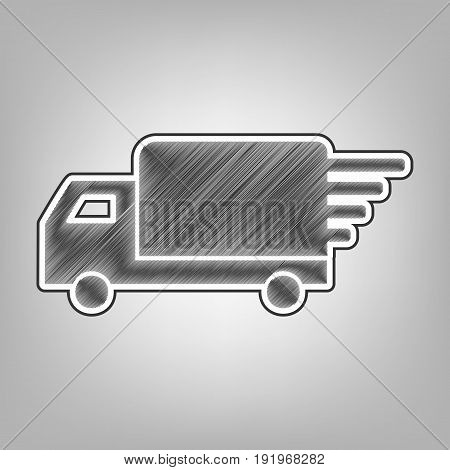 Delivery sign illustration. Vector. Pencil sketch imitation. Dark gray scribble icon with dark gray outer contour at gray background.