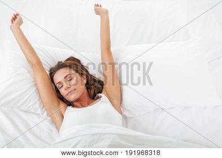 Young sleep woman leisure white beautiful happy