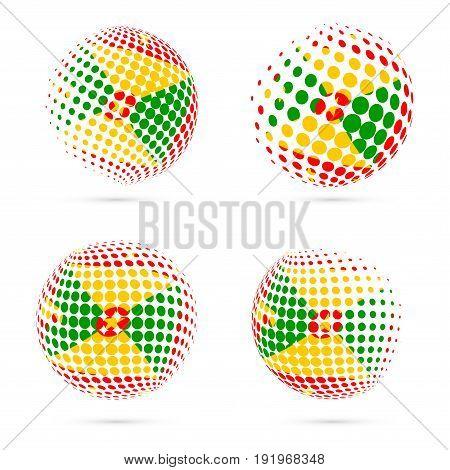 Grenada Halftone Flag Set Patriotic Vector Design. 3D Halftone Sphere In Grenada National Flag Color