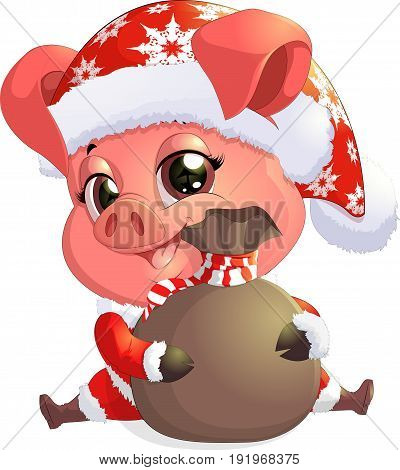 Pig in santa costume for the new year