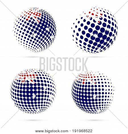 Himi Halftone Flag Set Patriotic Vector Design. 3D Halftone Sphere In Himi National Flag Colors Isol