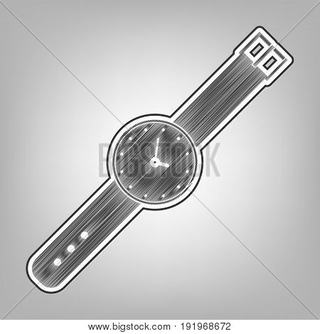Watch sign illustration. Vector. Pencil sketch imitation. Dark gray scribble icon with dark gray outer contour at gray background.