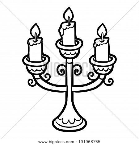 Coloring book for children cartoon, black and white Candlestick