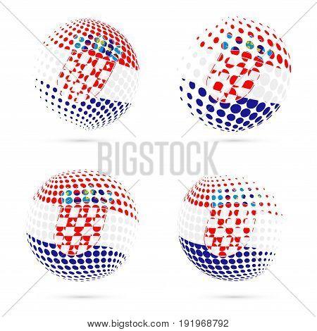 Croatia Halftone Flag Set Patriotic Vector Design. 3D Halftone Sphere In Croatia National Flag Color
