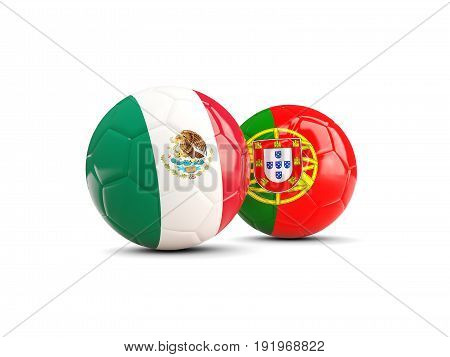 Two Footballs With Flags Of Mexico And Portugal Isolated On White