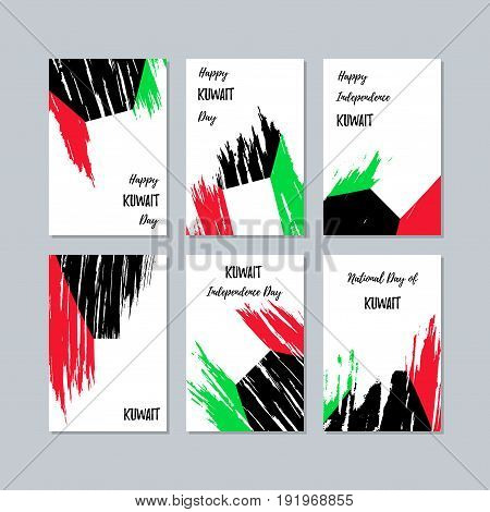 Kuwait Patriotic Cards For National Day. Expressive Brush Stroke In National Flag Colors On White Ca