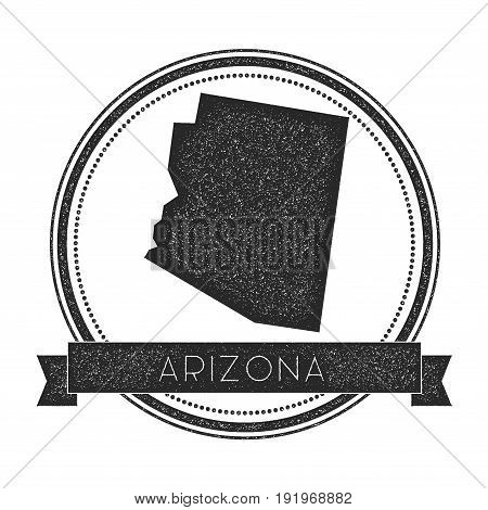 Arizona Vector Map Stamp. Retro Distressed Insignia With Us State Map. Hipster Round Rubber Stamp Wi