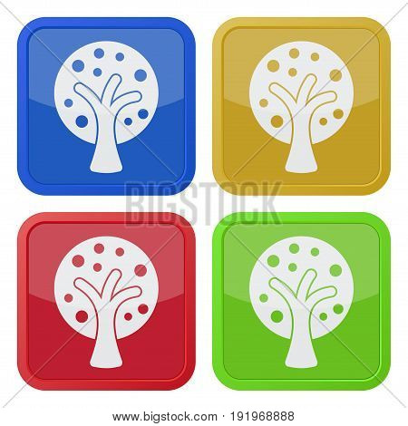 set of four square colored buttons and icons stylized tree with branches and fruits