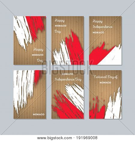 Monaco Patriotic Cards For National Day. Expressive Brush Stroke In National Flag Colors On Kraft Pa