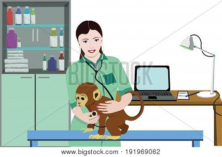 Animal medical treatment template with attractive female doctor monitoring monkey health using stethoscope in hospital room vector illustration