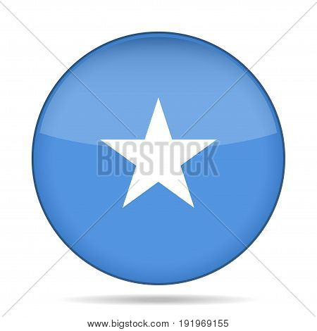 National flag of Somalia. Shiny round button with shadow.