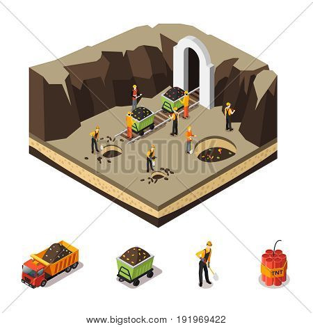 Isometric coal extraction concept of trolleys dynamite and miners with shovel pick drill working in mine isolated vector illustration