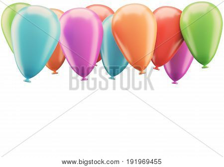 Colorful balloons isolated on white background. 3d rendering