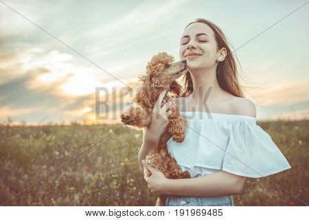 Beautiful girl is resting with a dog in a field.