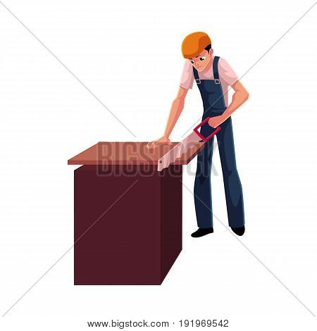 Construction worker, builder, carpenter sawing wooden plank, cartoon vector illustration isolated on white background. Full length portrait of builder, carpenter, worker working with a saw