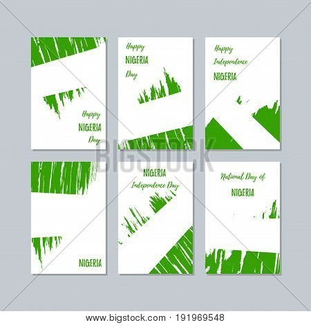 Nigeria Patriotic Cards For National Day. Expressive Brush Stroke In National Flag Colors On White C
