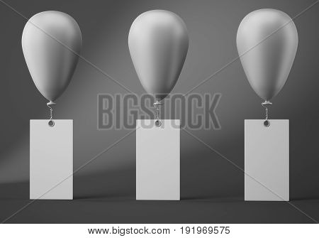 Three balloons with blank banners on dark grey background. 3d rendering
