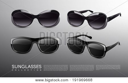 Stylish realistic sunglasses collection with front and side views on gray background isolated vector illustration